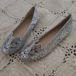 GAP Shoes - GAP !!!  Kitty Cat Kids Shoes!! Silver Glitter